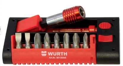 """Слика на Wurth сет вметоци со магнетен брзоинзменлив носач 1/4"""", 9 парчиња"""