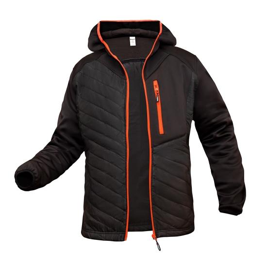 Strike јакна со црна боја и привлечни флуоросцентни детали.